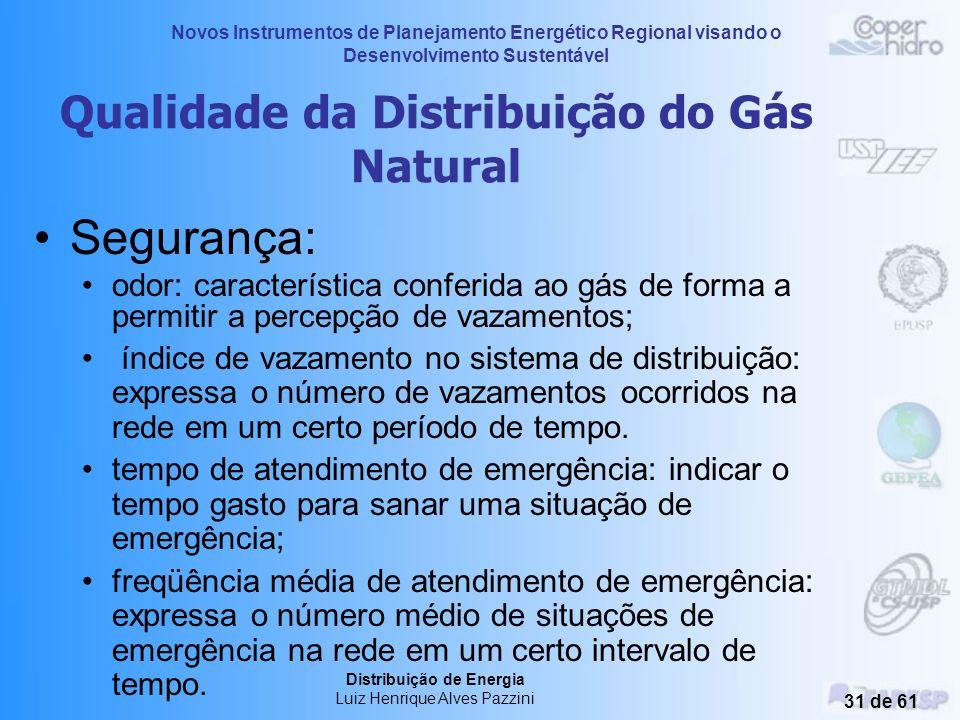 Novos Instrumentos de Planejamento Energético Regional visando o Desenvolvimento Sustentável Distribuição de Energia Luiz Henrique Alves Pazzini 30 de