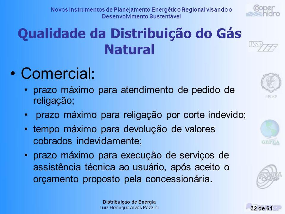 Novos Instrumentos de Planejamento Energético Regional visando o Desenvolvimento Sustentável Distribuição de Energia Luiz Henrique Alves Pazzini 31 de