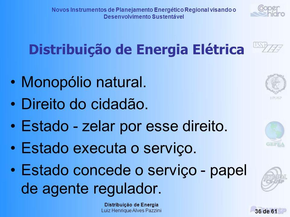 Novos Instrumentos de Planejamento Energético Regional visando o Desenvolvimento Sustentável Distribuição de Energia Luiz Henrique Alves Pazzini 35 de