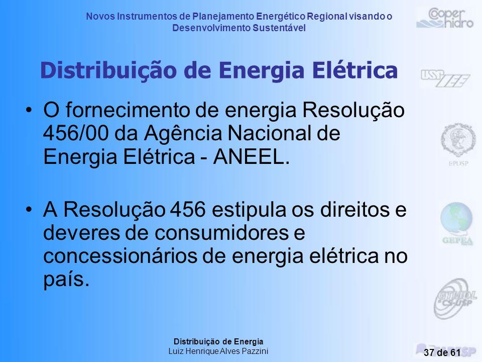 Novos Instrumentos de Planejamento Energético Regional visando o Desenvolvimento Sustentável Distribuição de Energia Luiz Henrique Alves Pazzini 36 de