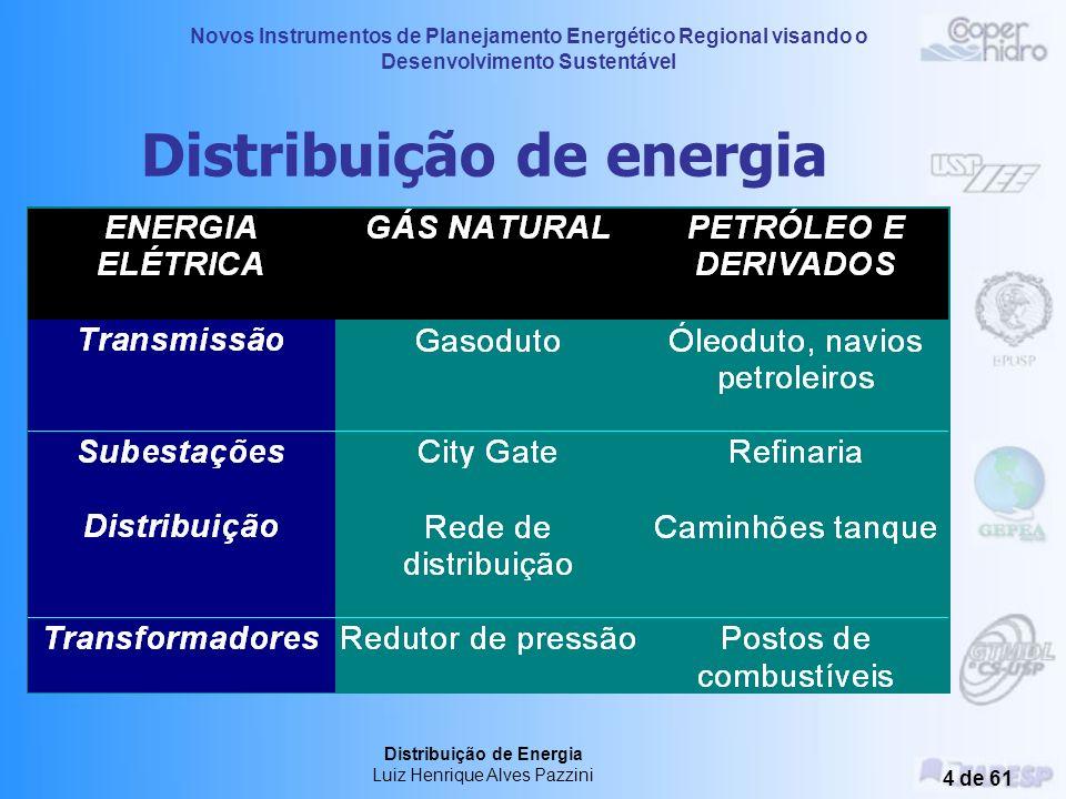 Novos Instrumentos de Planejamento Energético Regional visando o Desenvolvimento Sustentável Distribuição de Energia Luiz Henrique Alves Pazzini 14 de 61 Distribuição de Gás Natural Exclusividade (Comercialização) Prazo determinado (Contrato de Concessão) Vantagens Implantação de Redes - Investimentos.