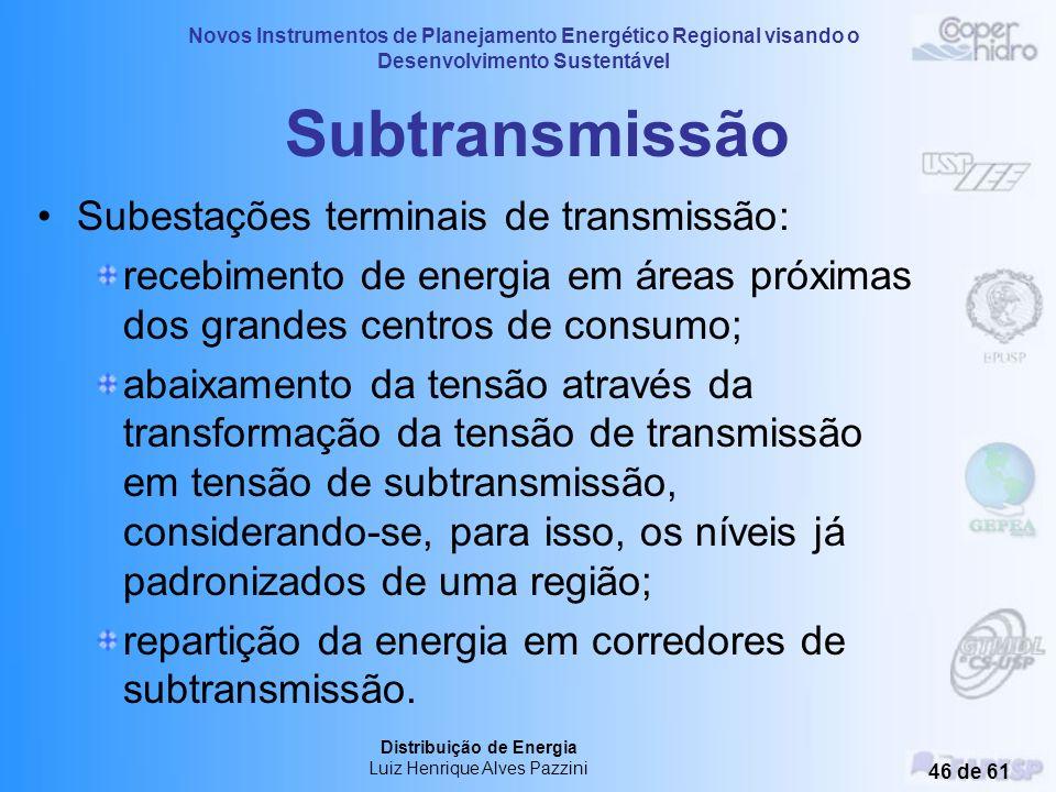 Novos Instrumentos de Planejamento Energético Regional visando o Desenvolvimento Sustentável Distribuição de Energia Luiz Henrique Alves Pazzini 45 de