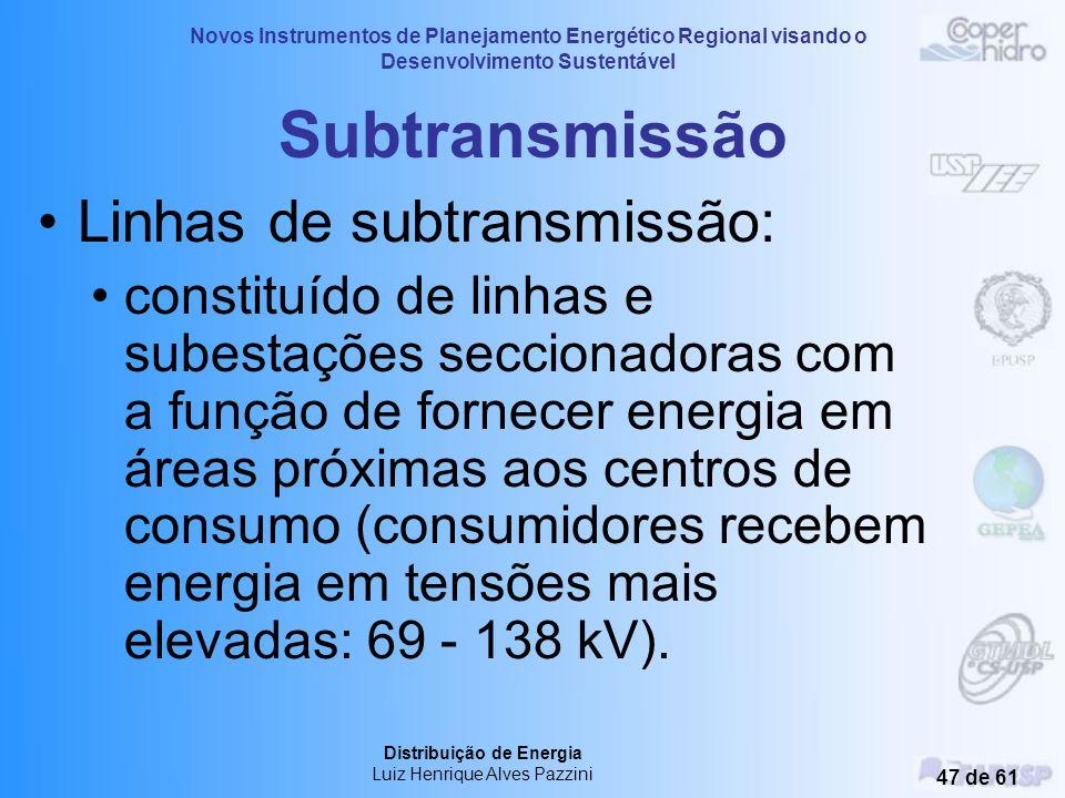 Novos Instrumentos de Planejamento Energético Regional visando o Desenvolvimento Sustentável Distribuição de Energia Luiz Henrique Alves Pazzini 46 de