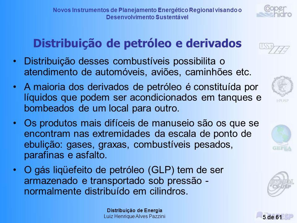Novos Instrumentos de Planejamento Energético Regional visando o Desenvolvimento Sustentável Distribuição de Energia Luiz Henrique Alves Pazzini 5 de 61 Distribuição de petróleo e derivados Distribuição desses combustíveis possibilita o atendimento de automóveis, aviões, caminhões etc.