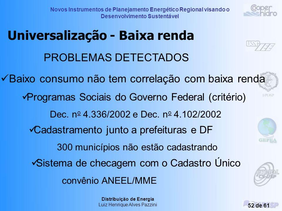 Novos Instrumentos de Planejamento Energético Regional visando o Desenvolvimento Sustentável Distribuição de Energia Luiz Henrique Alves Pazzini 51 de
