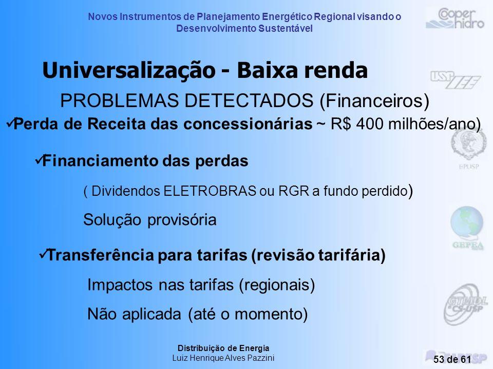 Novos Instrumentos de Planejamento Energético Regional visando o Desenvolvimento Sustentável Distribuição de Energia Luiz Henrique Alves Pazzini 52 de