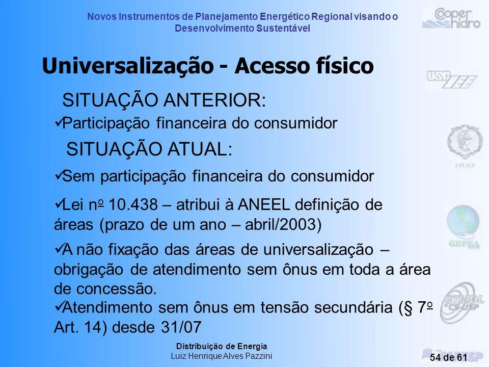 Novos Instrumentos de Planejamento Energético Regional visando o Desenvolvimento Sustentável Distribuição de Energia Luiz Henrique Alves Pazzini 53 de