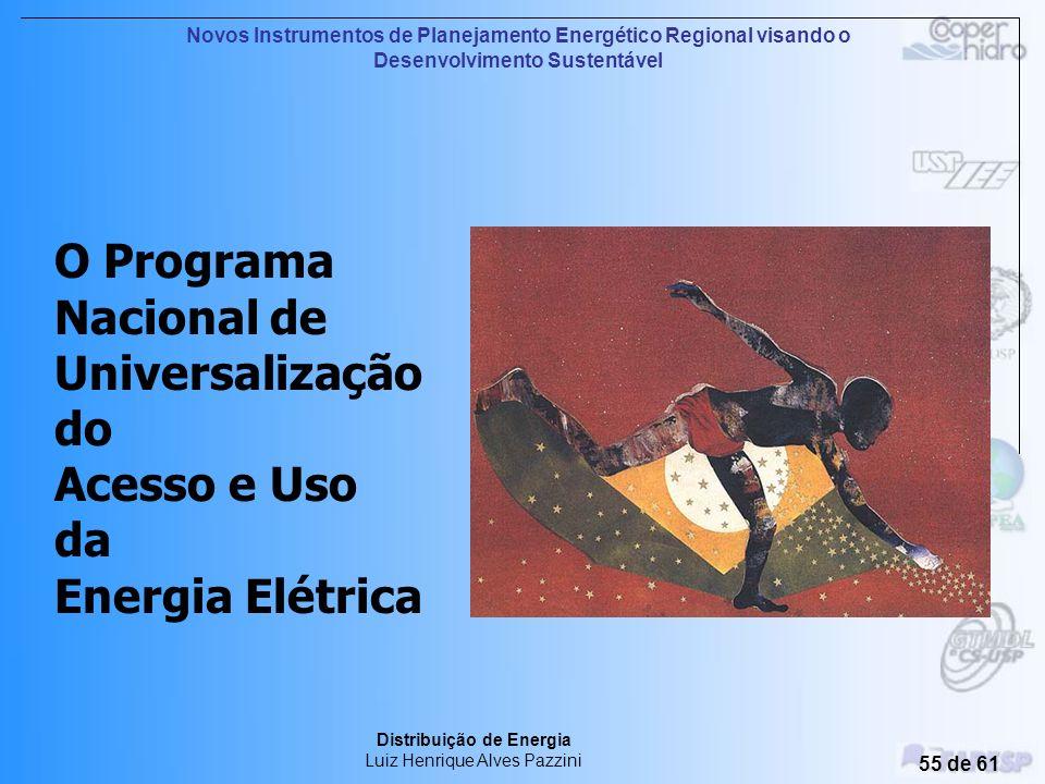 Novos Instrumentos de Planejamento Energético Regional visando o Desenvolvimento Sustentável Distribuição de Energia Luiz Henrique Alves Pazzini 54 de