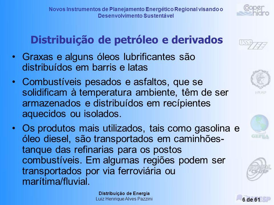 Novos Instrumentos de Planejamento Energético Regional visando o Desenvolvimento Sustentável Distribuição de Energia Luiz Henrique Alves Pazzini 26 de 61 No estado de São Paulo o fornecimento de gás natural canalizado é regulamentado pela Portaria 160 de 20 de dezembro de 2001, da Comissão de Serviços Públicos de Energia (CSPE).