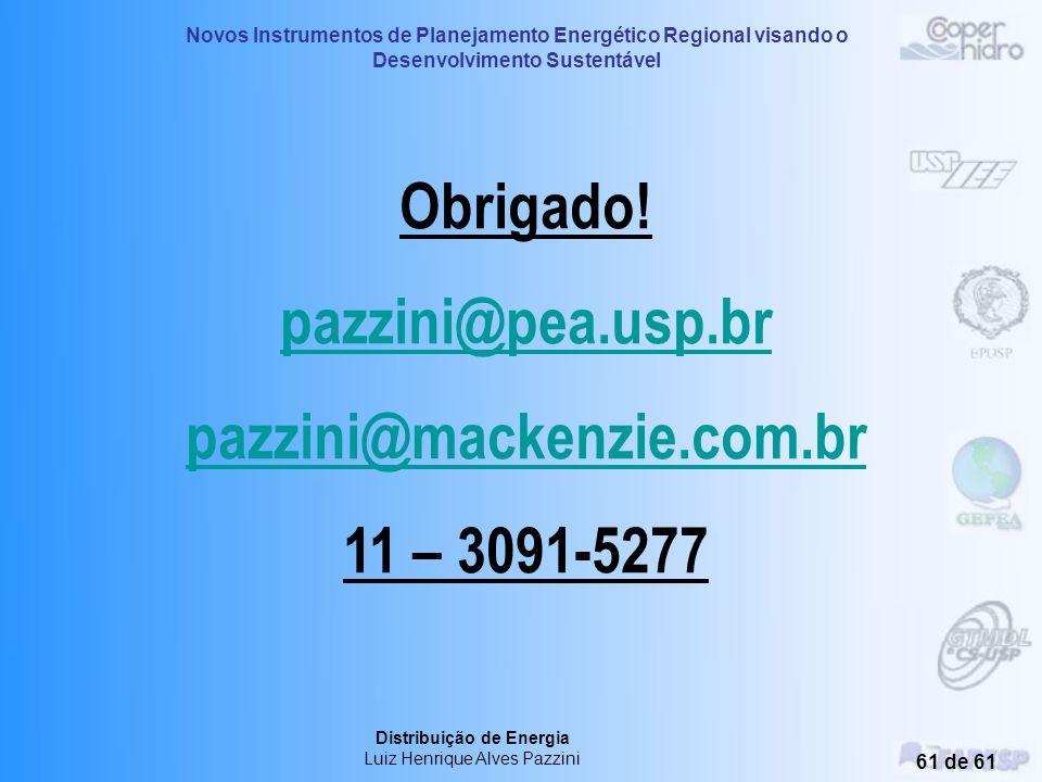 Novos Instrumentos de Planejamento Energético Regional visando o Desenvolvimento Sustentável Distribuição de Energia Luiz Henrique Alves Pazzini 60 de