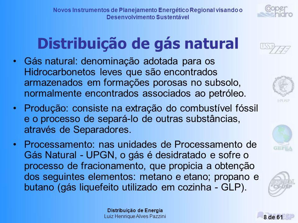Novos Instrumentos de Planejamento Energético Regional visando o Desenvolvimento Sustentável Distribuição de Energia Luiz Henrique Alves Pazzini 8 de 61 Distribuição de gás natural Gás natural: denominação adotada para os Hidrocarbonetos leves que são encontrados armazenados em formações porosas no subsolo, normalmente encontrados associados ao petróleo.