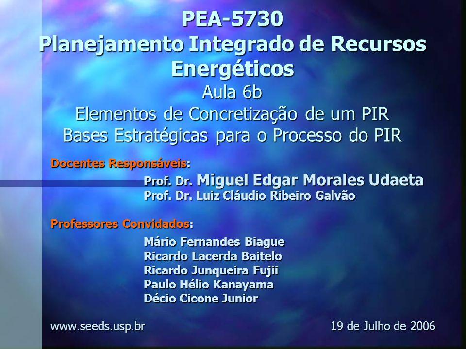 PEA-5730 Planejamento Integrado de Recursos Energéticos Aula 6b Elementos de Concretização de um PIR Bases Estratégicas para o Processo do PIR Docente