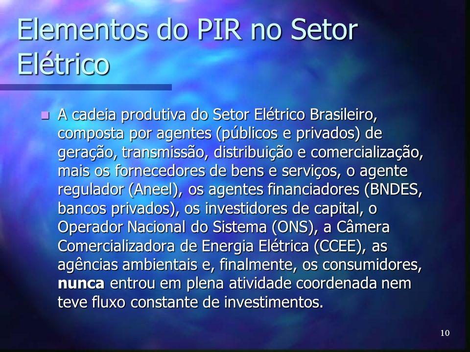 10 Elementos do PIR no Setor Elétrico A cadeia produtiva do Setor Elétrico Brasileiro, composta por agentes (públicos e privados) de geração, transmis