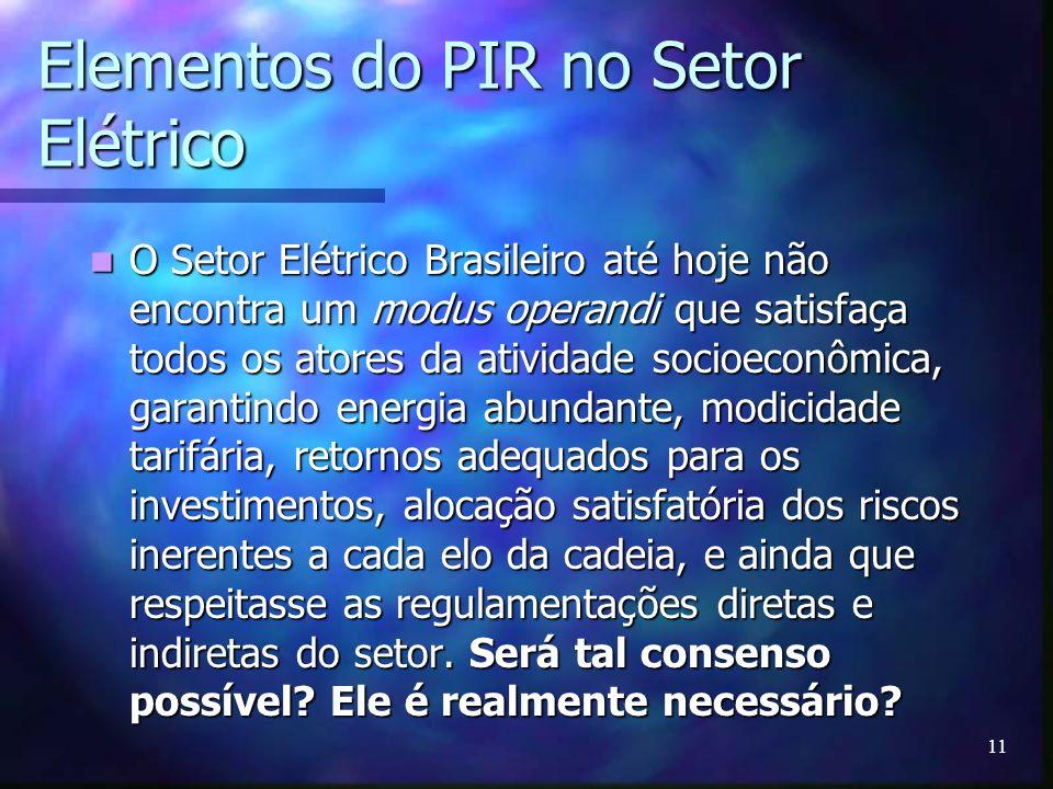 11 Elementos do PIR no Setor Elétrico O Setor Elétrico Brasileiro até hoje não encontra um modus operandi que satisfaça todos os atores da atividade s