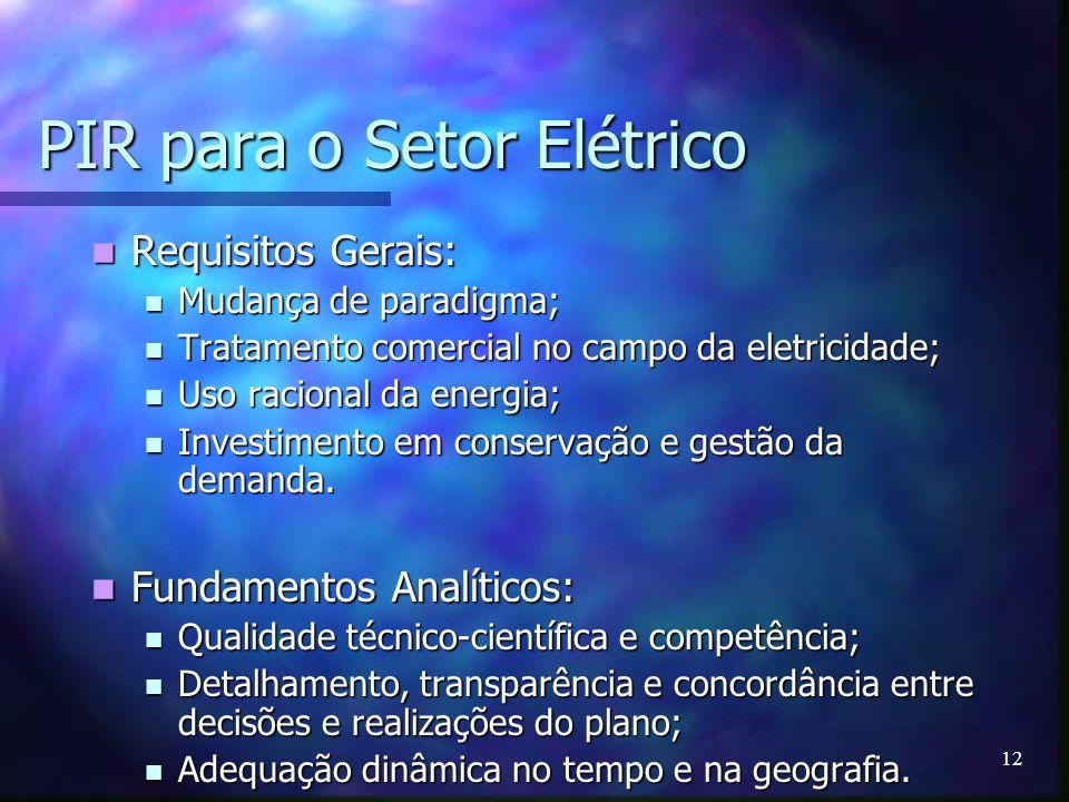 12 PIR para o Setor Elétrico Requisitos Gerais: Requisitos Gerais: Mudança de paradigma; Mudança de paradigma; Tratamento comercial no campo da eletri