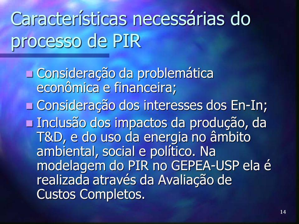 14 Características necessárias do processo de PIR Consideração da problemática econômica e financeira; Consideração da problemática econômica e financ