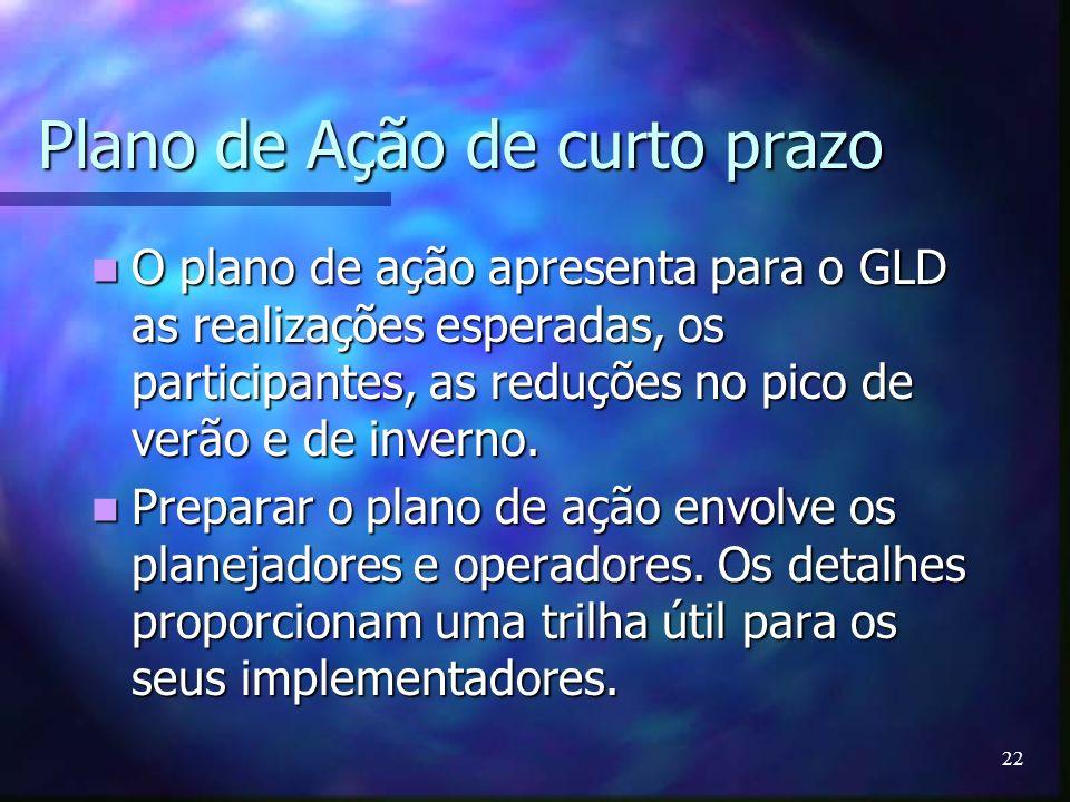 22 Plano de Ação de curto prazo O plano de ação apresenta para o GLD as realizações esperadas, os participantes, as reduções no pico de verão e de inv