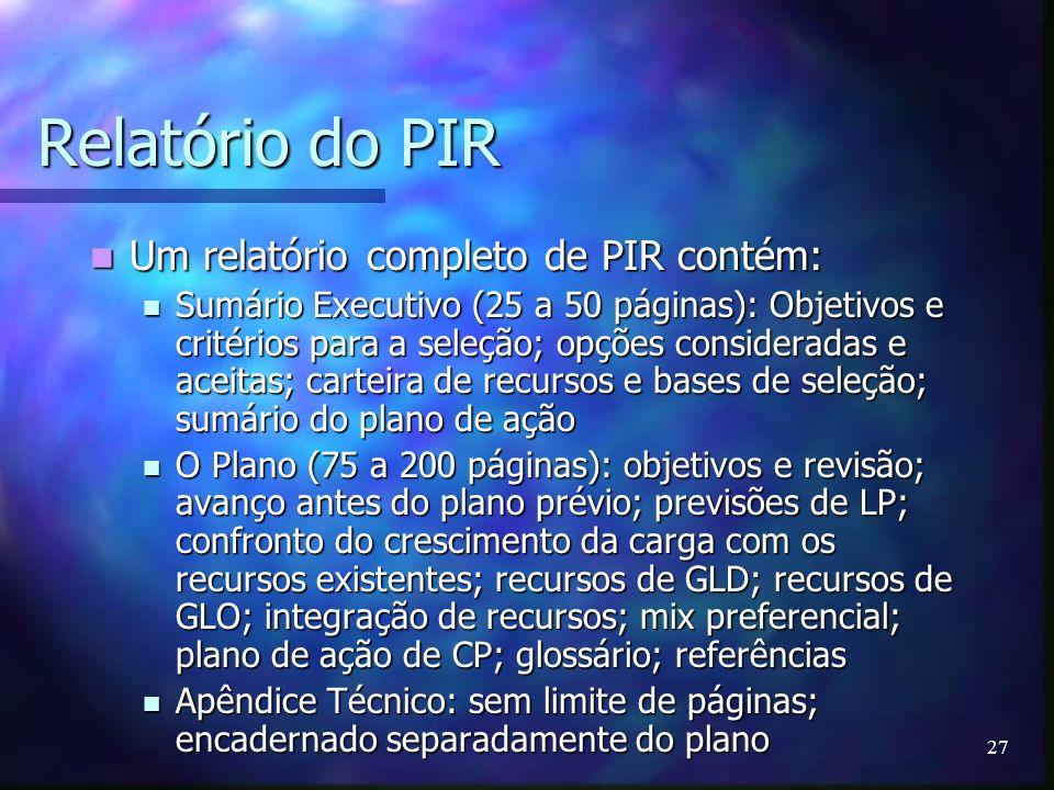 27 Relatório do PIR Um relatório completo de PIR contém: Um relatório completo de PIR contém: Sumário Executivo (25 a 50 páginas): Objetivos e critéri
