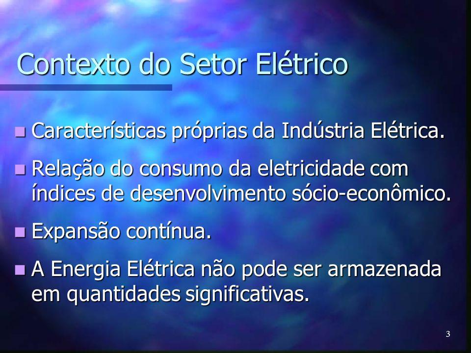 3 Contexto do Setor Elétrico Características próprias da Indústria Elétrica. Características próprias da Indústria Elétrica. Relação do consumo da ele
