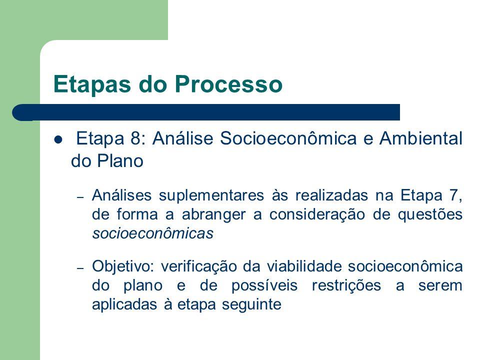 Etapa 8: Análise Socioeconômica e Ambiental do Plano – Análises suplementares às realizadas na Etapa 7, de forma a abranger a consideração de questões