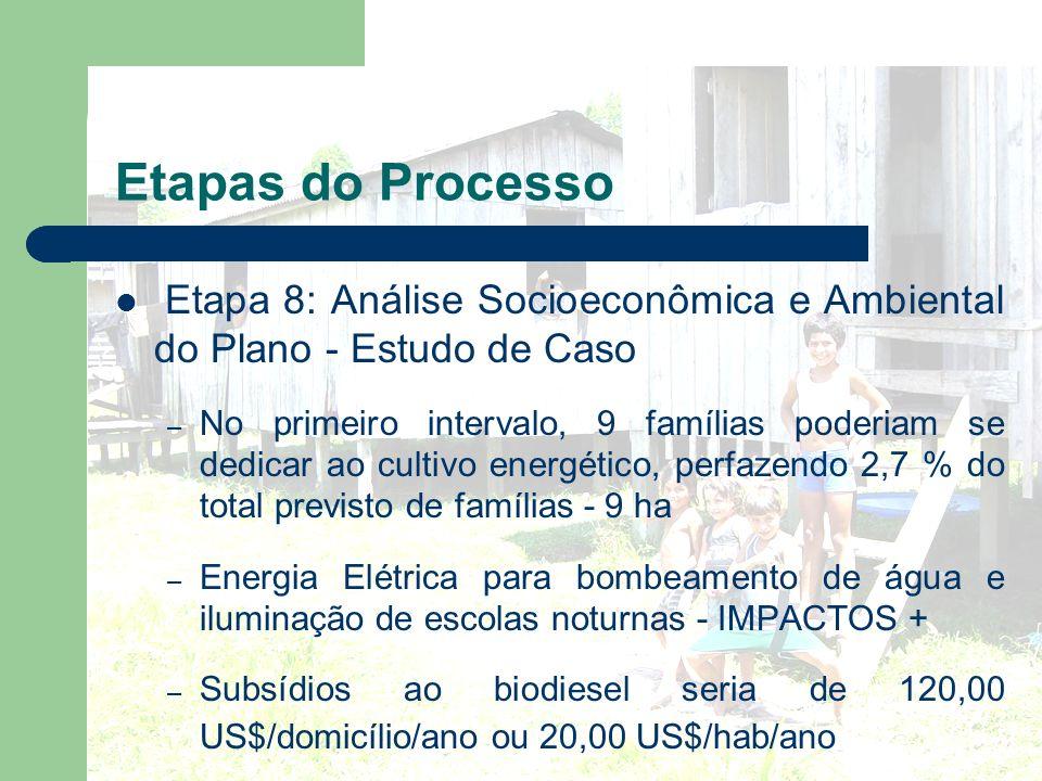 Etapas do Processo Etapa 8: Análise Socioeconômica e Ambiental do Plano - Estudo de Caso – No primeiro intervalo, 9 famílias poderiam se dedicar ao cu