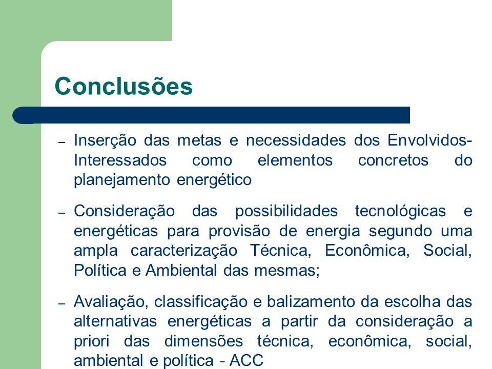 Conclusões – Inserção das metas e necessidades dos Envolvidos- Interessados como elementos concretos do planejamento energético – Consideração das pos