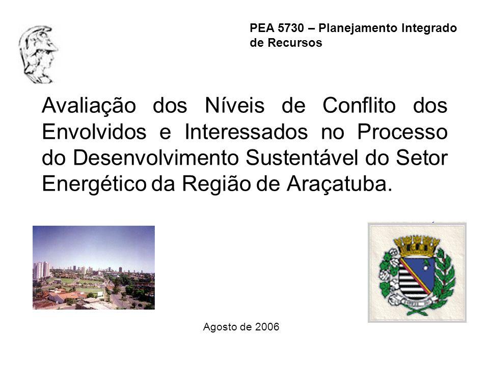 Avaliação dos Níveis de Conflito dos Envolvidos e Interessados no Processo do Desenvolvimento Sustentável do Setor Energético da Região de Araçatuba.