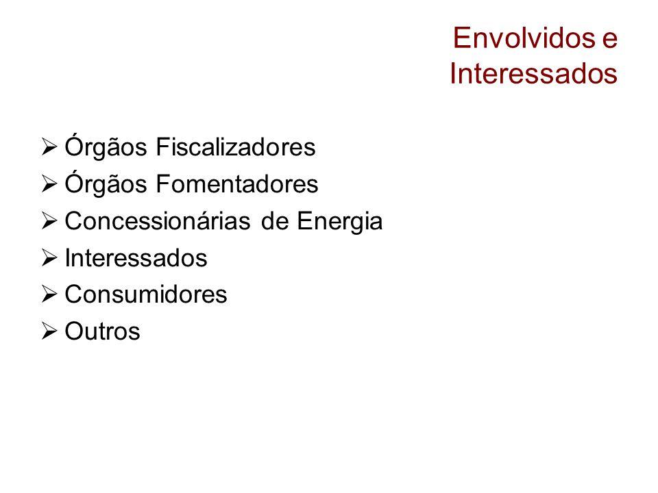 Envolvidos e Interessados Órgãos Fiscalizadores Órgãos Fomentadores Concessionárias de Energia Interessados Consumidores Outros