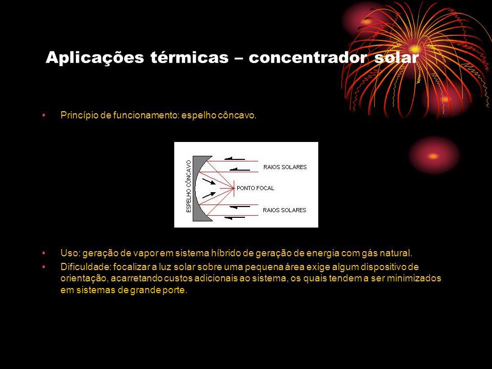 Aplicações térmicas – concentrador solar Princípio de funcionamento: espelho côncavo. Uso: geração de vapor em sistema híbrido de geração de energia c