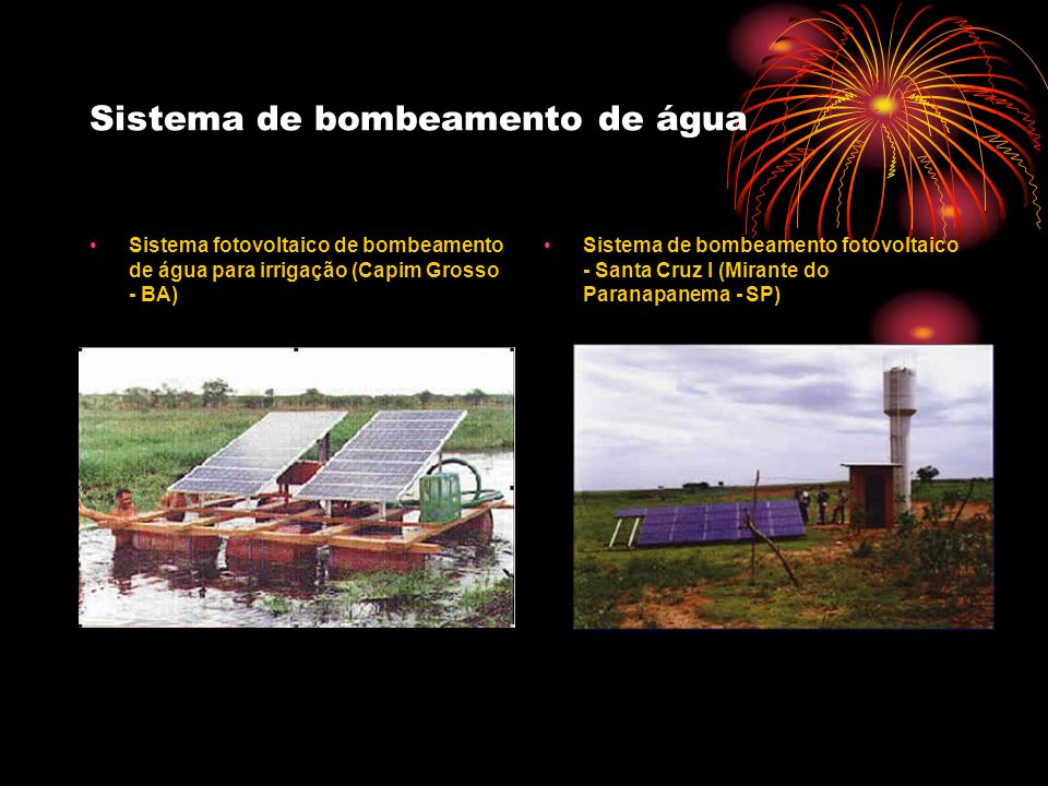 Sistema de bombeamento de água Sistema fotovoltaico de bombeamento de água para irrigação (Capim Grosso - BA) Sistema de bombeamento fotovoltaico - Sa