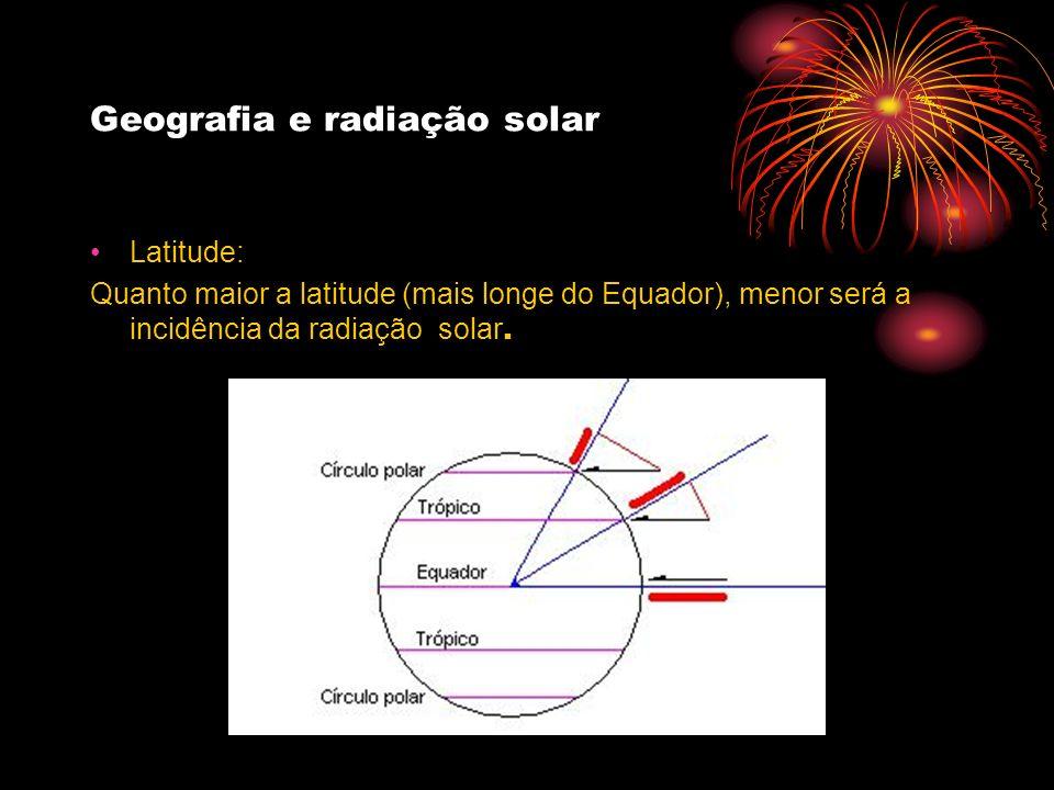 Geografia e radiação solar Latitude: Quanto maior a latitude (mais longe do Equador), menor será a incidência da radiação solar.
