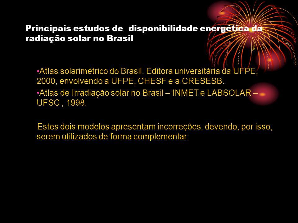 Principais estudos de disponibilidade energética da radiação solar no Brasil Atlas solarimétrico do Brasil. Editora universitária da UFPE, 2000, envol