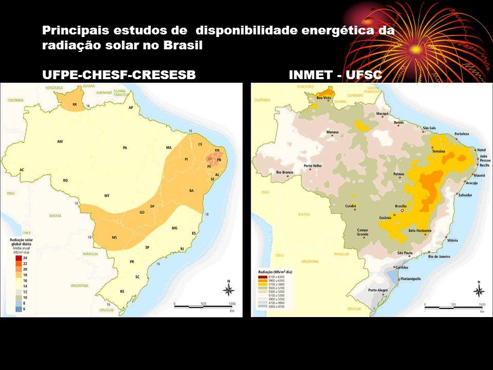 Principais estudos de disponibilidade energética da radiação solar no Brasil UFPE-CHESF-CRESESBINMET - UFSC