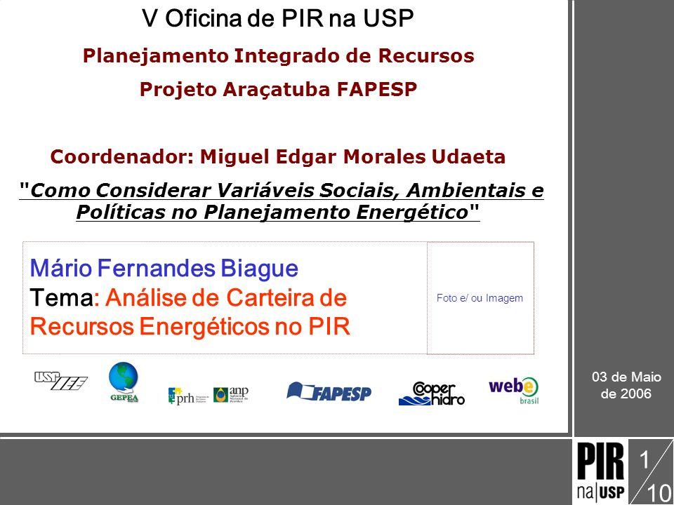Mário Biague V Oficina: Como Considerar Variáveis Sociais, Ambientais e Políticas no Planejamento Energético Análise de portfólio de recursos energéticos 10 2 Analise de carteira de Recursos Energéticos O que é uma Carteira de Recursos.