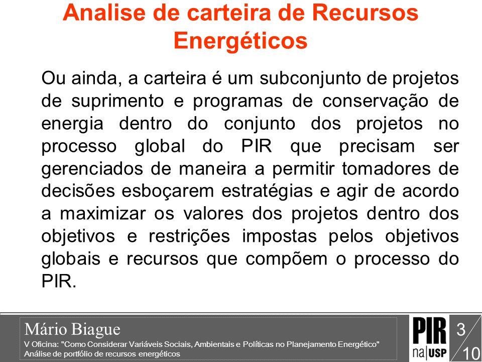 Mário Biague V Oficina: Como Considerar Variáveis Sociais, Ambientais e Políticas no Planejamento Energético Análise de portfólio de recursos energéticos 10 14 Analise de carteira de Recursos Energéticos Figura 2: Risco versus Investimentos