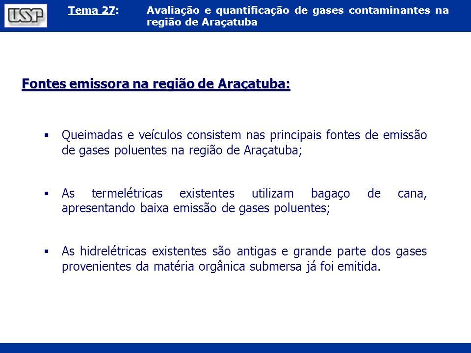 Tema 27:Avaliação e quantificação de gases contaminantes na região de Araçatuba Fontes emissora na região de Araçatuba: Queimadas e veículos consistem