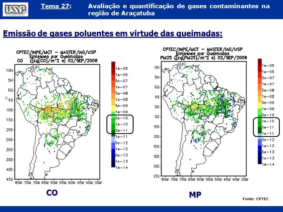Tema 27:Avaliação e quantificação de gases contaminantes na região de Araçatuba Emissão de gases poluentes em virtude das queimadas: Fonte: CPTEC CO M