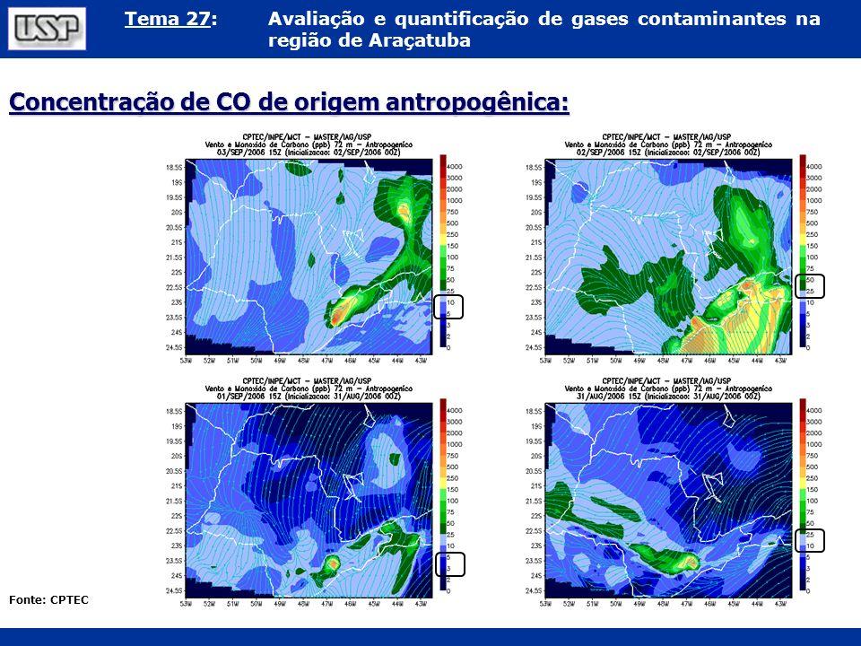 Tema 27:Avaliação e quantificação de gases contaminantes na região de Araçatuba Concentração de CO de origem antropogênica: Fonte: CPTEC