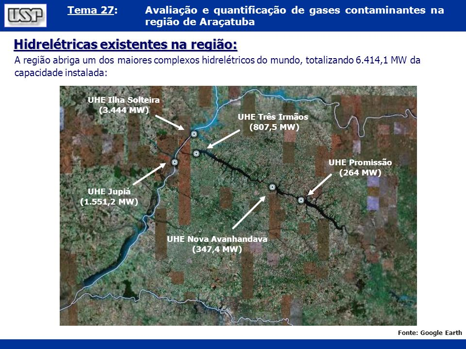 Tema 27:Avaliação e quantificação de gases contaminantes na região de Araçatuba Hidrelétricas existentes na região: A região abriga um dos maiores com
