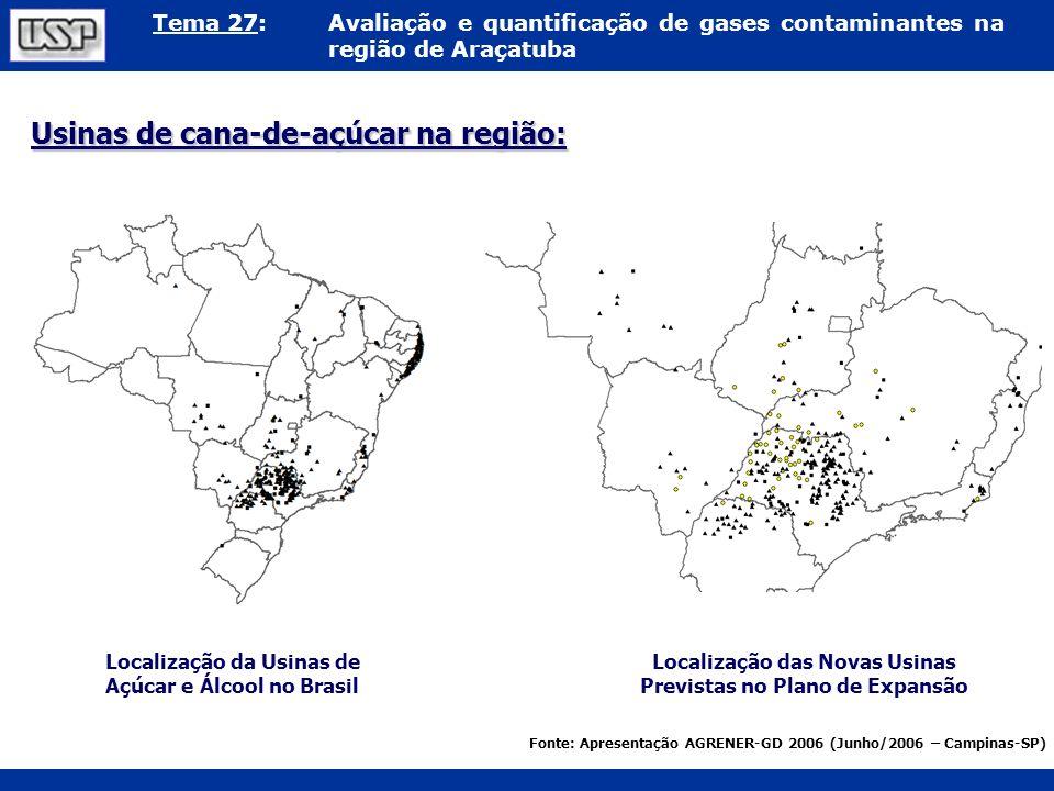 Tema 27:Avaliação e quantificação de gases contaminantes na região de Araçatuba Usinas de cana-de-açúcar na região: Localização da Usinas de Açúcar e