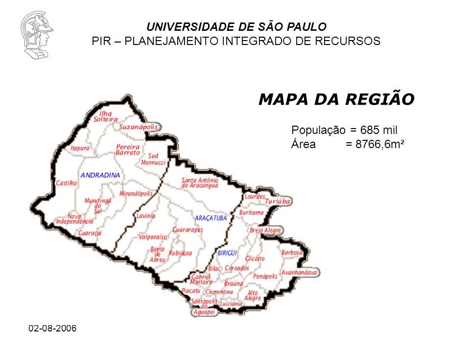 UNIVERSIDADE DE SÃO PAULO PIR – PLANEJAMENTO INTEGRADO DE RECURSOS 02-08-2006 MAPA DA REGIÃO População = 685 mil Área = 8766,6m²