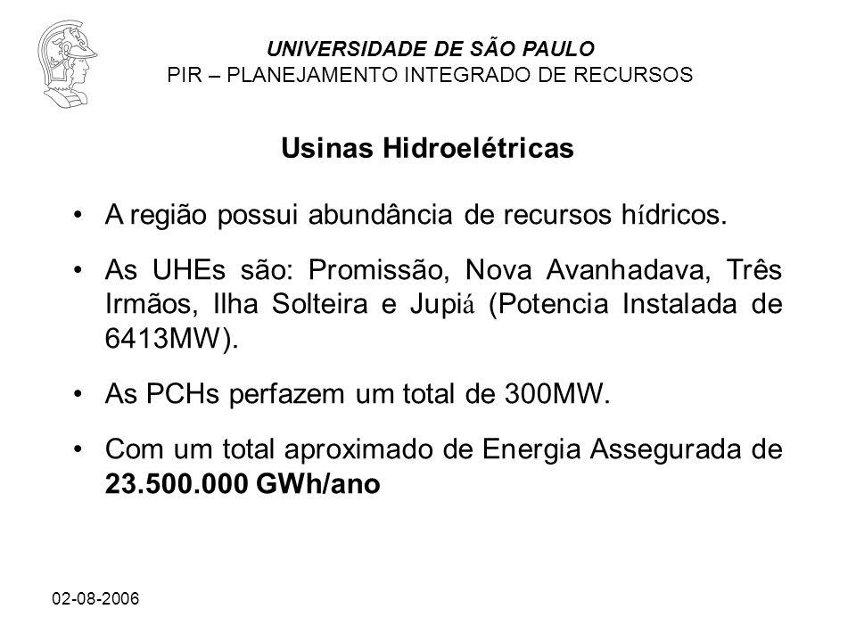 UNIVERSIDADE DE SÃO PAULO PIR – PLANEJAMENTO INTEGRADO DE RECURSOS 02-08-2006 A região possui abundância de recursos h í dricos. As UHEs são: Promissã