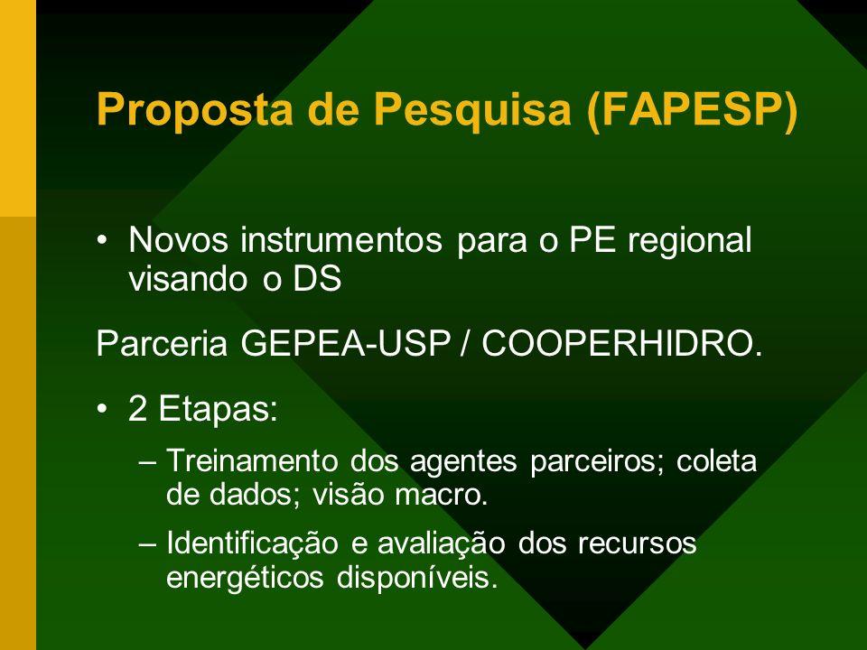 Proposta de Pesquisa (FAPESP) Novos instrumentos para o PE regional visando o DS Parceria GEPEA-USP / COOPERHIDRO. 2 Etapas: –Treinamento dos agentes
