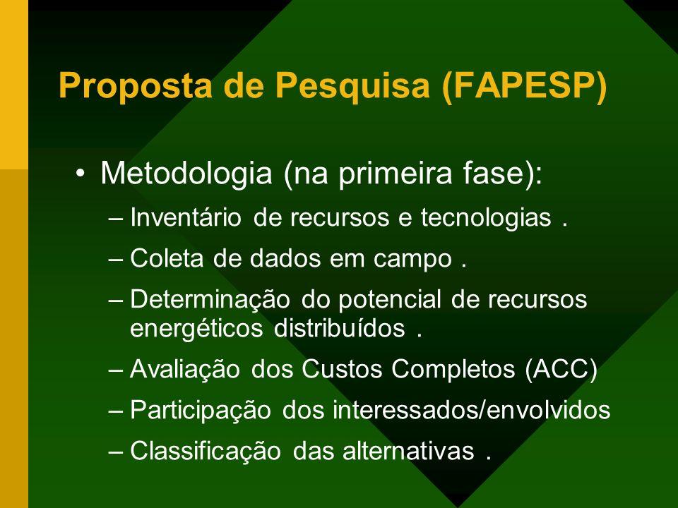 Proposta de Pesquisa (FAPESP) Metodologia (na primeira fase): –Inventário de recursos e tecnologias. –Coleta de dados em campo. –Determinação do poten