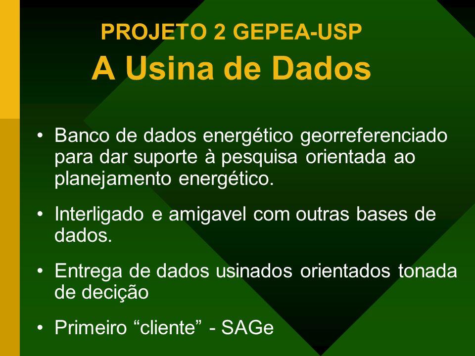 PROJETO 2 GEPEA-USP A Usina de Dados Banco de dados energético georreferenciado para dar suporte à pesquisa orientada ao planejamento energético. Inte