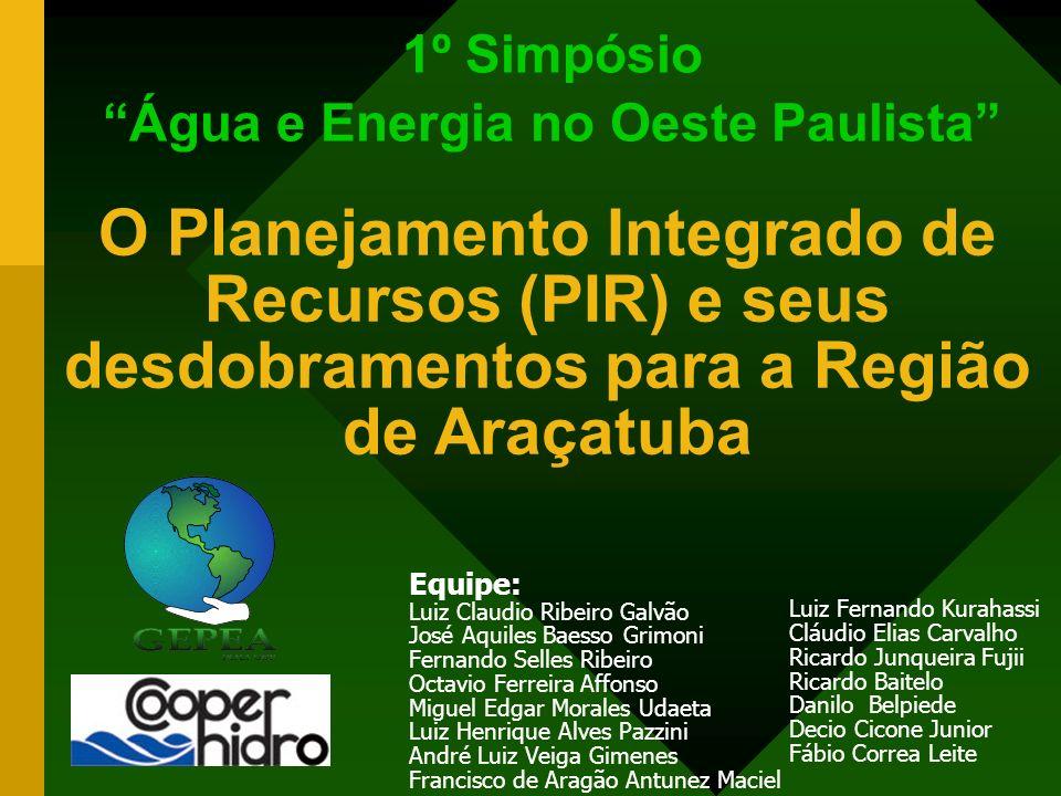 1º Simpósio Água e Energia no Oeste Paulista Equipe: Luiz Claudio Ribeiro Galvão José Aquiles Baesso Grimoni Fernando Selles Ribeiro Octavio Ferreira
