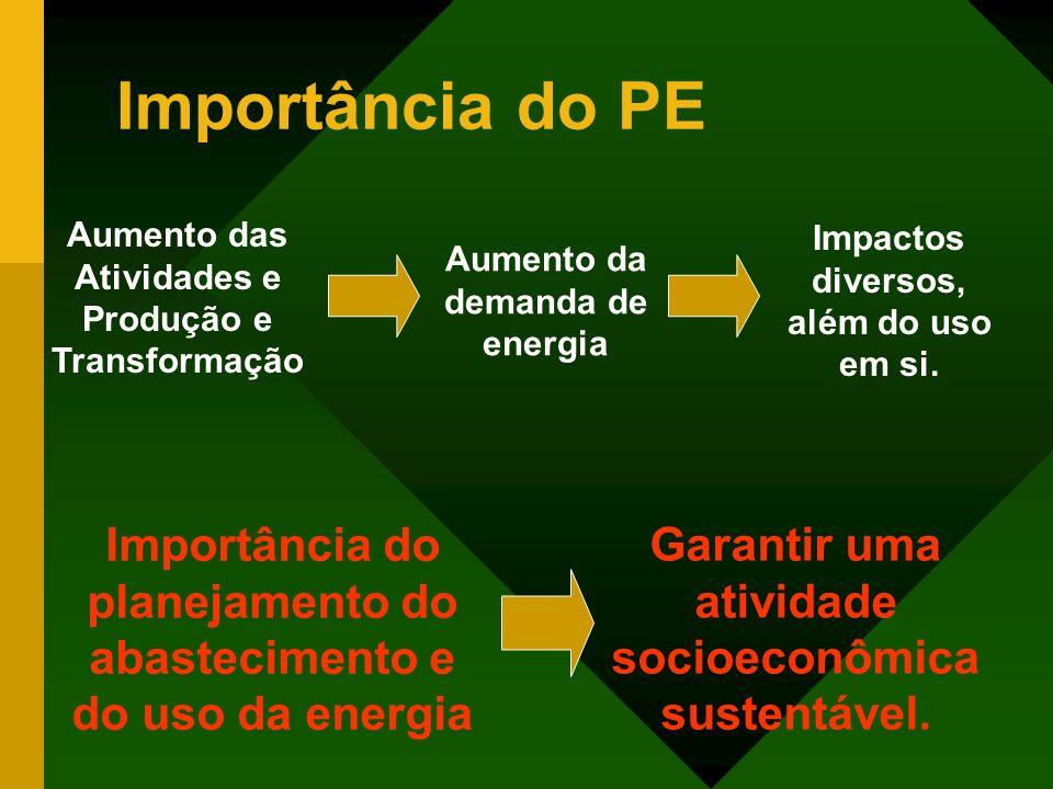 Importância do PE Aumento das Atividades e Produção e Transformação Aumento da demanda de energia Impactos diversos, além do uso em si. Importância do