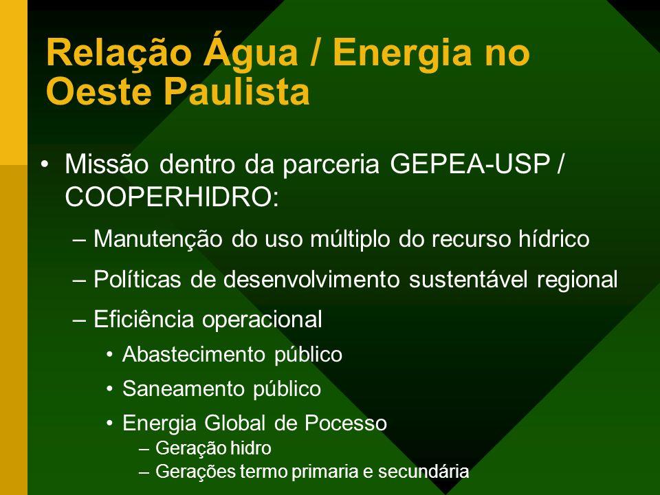 Relação Água / Energia no Oeste Paulista Missão dentro da parceria GEPEA-USP / COOPERHIDRO: –Manutenção do uso múltiplo do recurso hídrico –Políticas