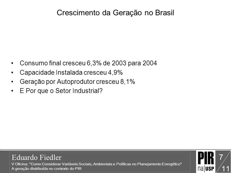 Eduardo Fiedler V Oficina: Como Considerar Variáveis Sociais, Ambientais e Políticas no Planejamento Energético A geração distribuída no contexto do PIR 11 7 Crescimento da Geração no Brasil Consumo final cresceu 6,3% de 2003 para 2004 Capacidade Instalada cresceu 4,9% Geração por Autoprodutor cresceu 8,1% E Por que o Setor Industrial