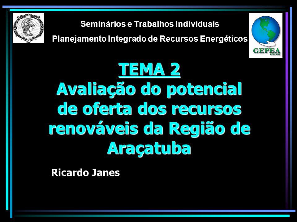 TEMA 2 Avaliação do potencial de oferta dos recursos renováveis da Região de Araçatuba Seminários e Trabalhos Individuais Planejamento Integrado de Recursos Energéticos Ricardo Janes
